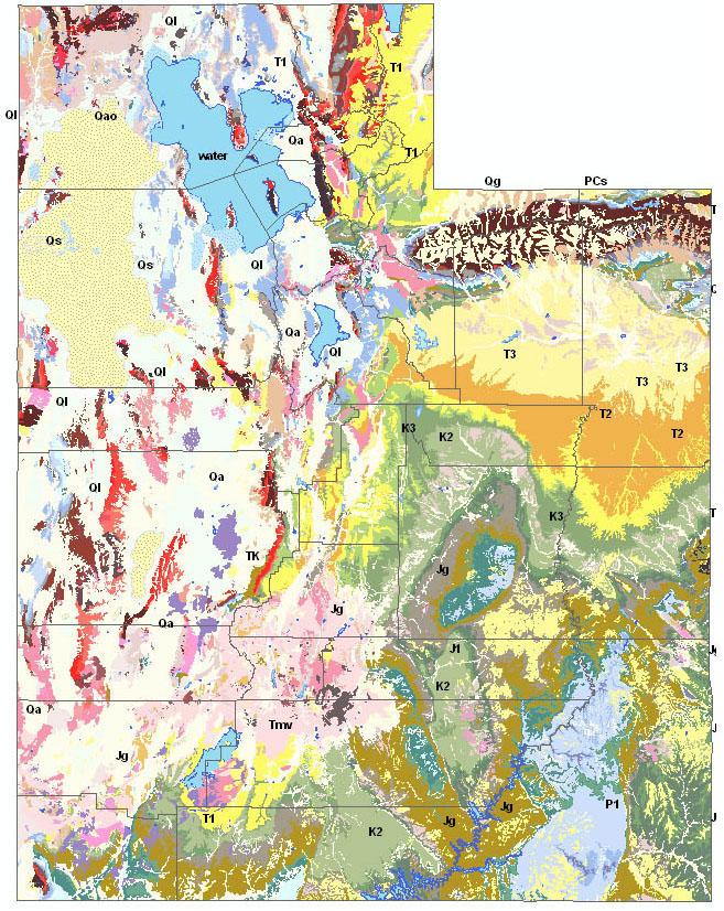 UtahGeology  Utah Geologic Formations Selection Map