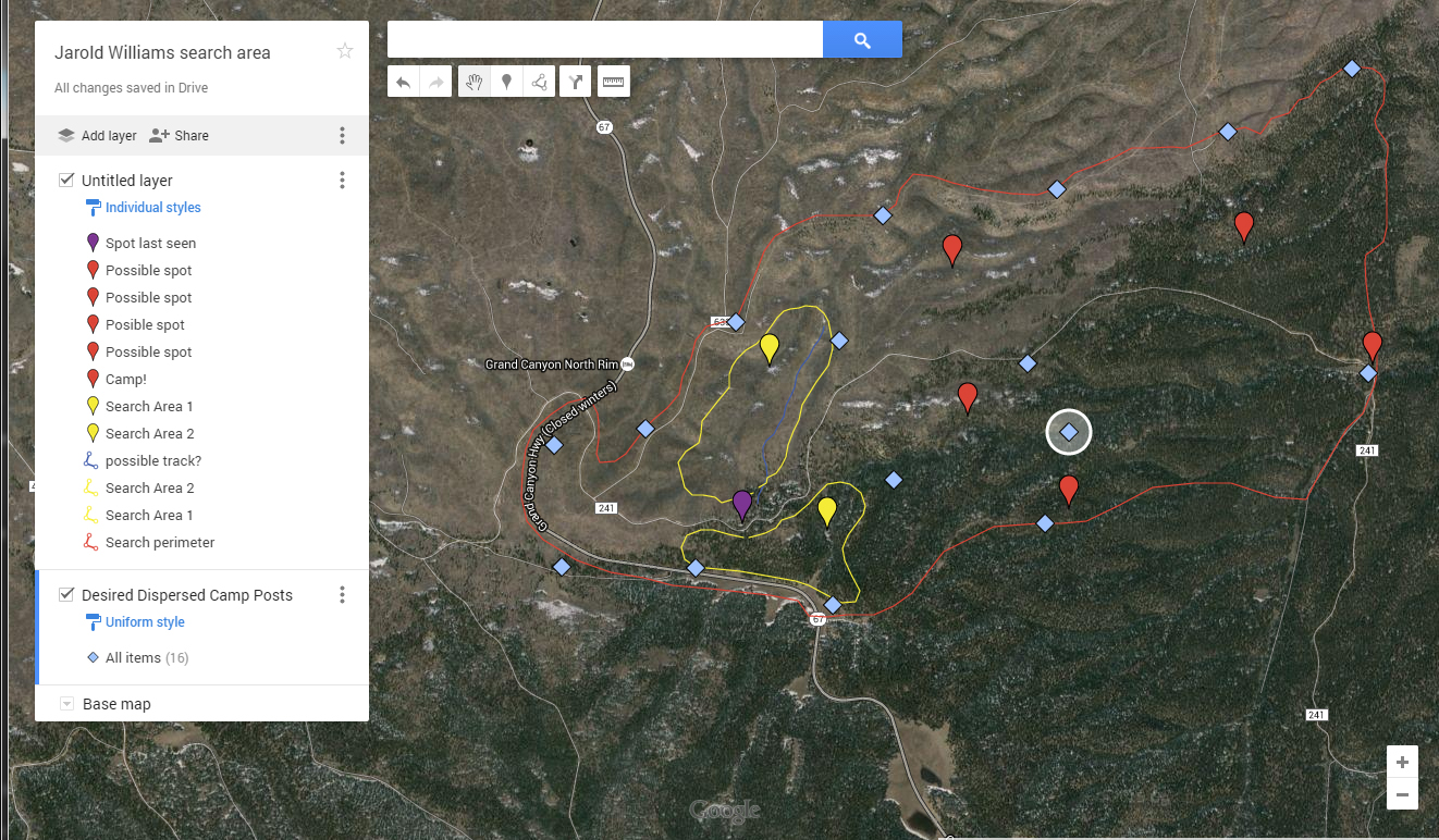 example of a map showing base camp, search perimeter,  perimeter camps, and high priority search areas.