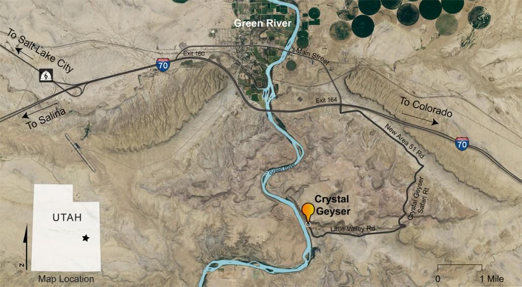 map to crystal geyser, utah